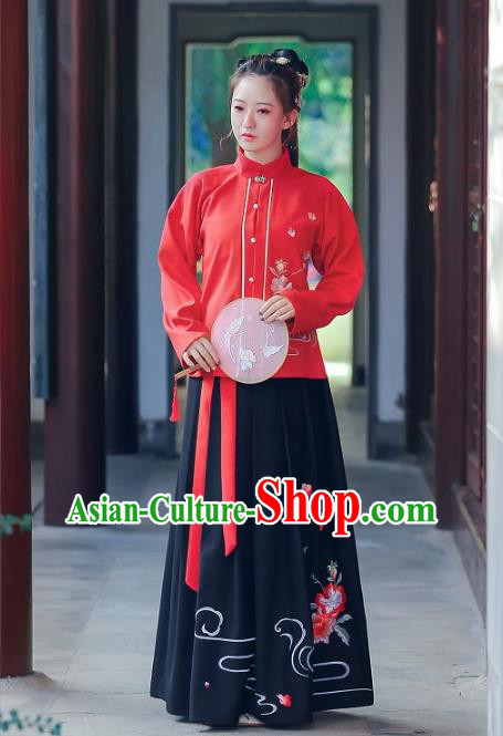 Traditional Chinese Ancient Ming Dynasty Imperial Princess Hanfu Embroidered Clothing for Women