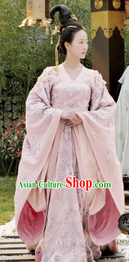 Traditional Ancient Chinese Tang Dynasty Palace Lady Imperial Concubine Embroidered Tailing Dress Costume and Headpiece Complete Set for Women