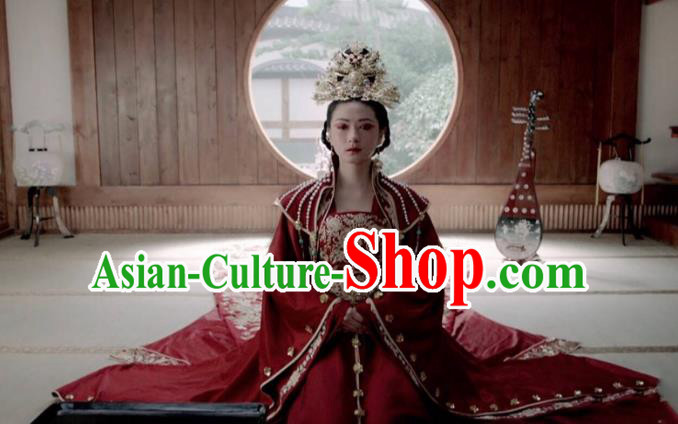 Traditional Ancient Chinese Tang Dynasty Imperial Concubine Wedding Embroidered Tailing Red Dress Costume and Headpiece Complete Set for Women