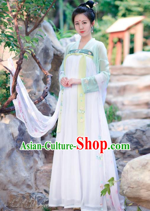 Traditional Chinese Tang Dynasty Palace Lady Imperial Concubine Hanfu Embroidered Costume for Women
