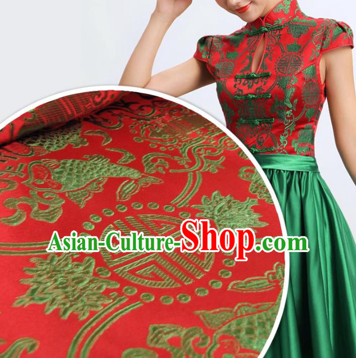 Chinese Traditional Royal Palace Double Fish Pattern Design Hanfu Brocade Mongolian Robe Fabric Ancient Costume Tang Suit Cheongsam Material