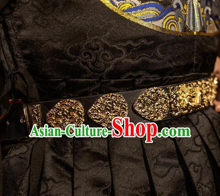 Traditional Chinese Ming Dynasty Swordsman Leather Belts Waistband for Men
