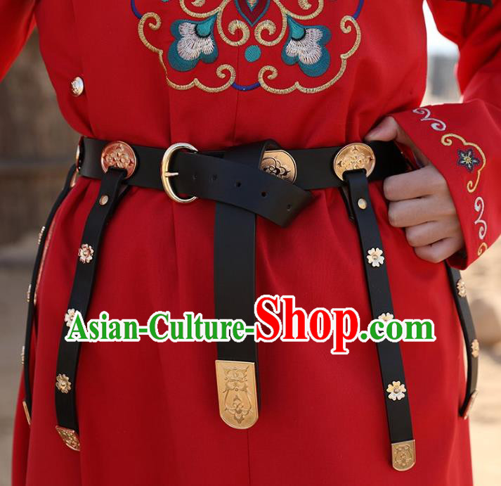 Traditional Chinese Tang Dynasty Prince Swordsman Leather Belts Waistband for Men