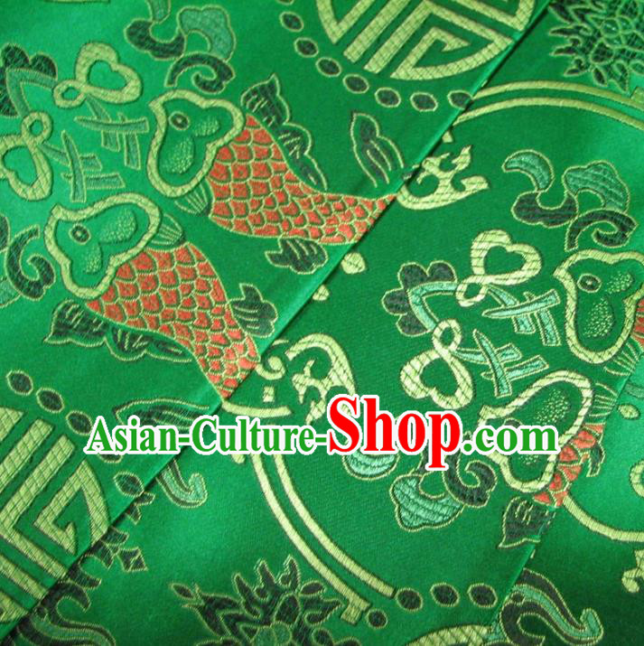 Chinese Traditional Palace Double Fish Pattern Design Hanfu Green Brocade Fabric Ancient Costume Tang Suit Cheongsam Material