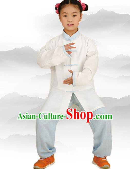Chinese Kung Fu Linen Long Sleeve Costume, Traditional Martial Arts Tai Ji White Uniform for Kids