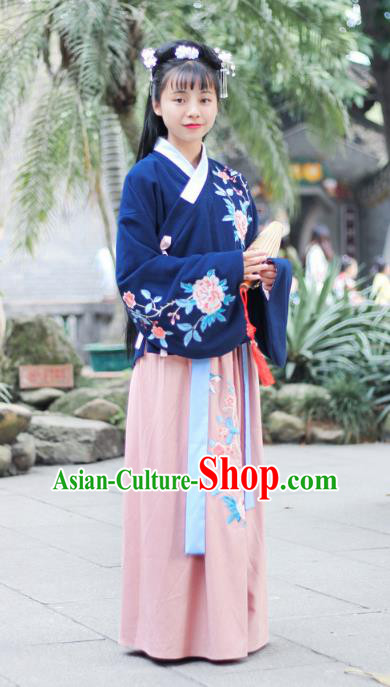 Traditional Chinese Ming Dynasty Princess Clothing, Ancient Palace Lady Hanfu Embroidered Peony Costume for Women