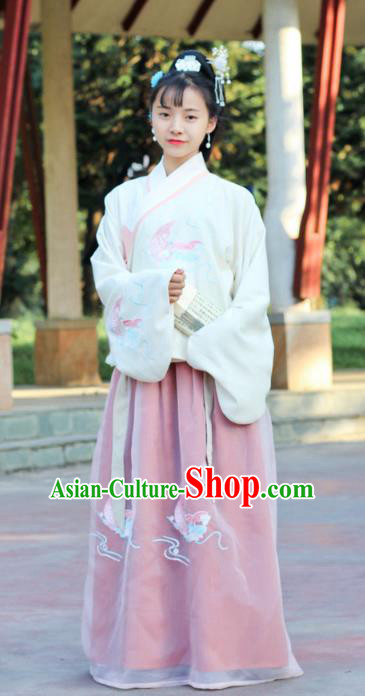 Traditional Chinese Ancient Ming Dynasty Princess Hanfu Costume Embroidered Blouse and Skirt for Women