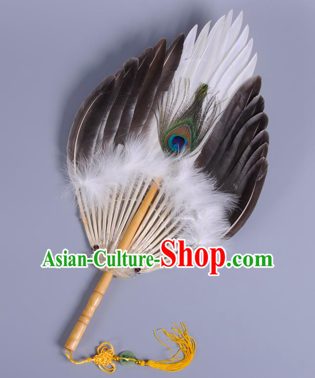 Traditional Chinese Crafts Folding Fan China Tassel Feather Fan Oriental Fan Zhuge Liang Fans