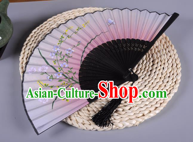 Traditional Chinese Crafts Printing Orchid Pink Silk Folding Fan China Oriental Fans for Women