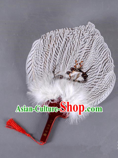 Traditional Chinese Crafts Folding Fan China Printing Magpie Feather Fan Oriental Fan Zhuge Liang Fans
