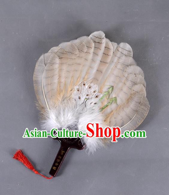 Traditional Chinese Crafts Folding Fan China Brown Eagle Feather Fan Oriental Fan Zhuge Liang Fans