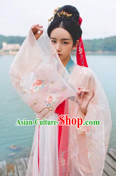 Traditional Chinese Tang Dynasty Imperial Concubine Dress Ancient Palace Lady Hanfu Embroidered Costume for Women