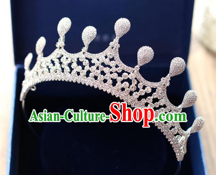 Chinese Traditional Bride Hair Accessories Baroque Princess Headwear Wedding Crystal Jewelry Royal Crown for Women