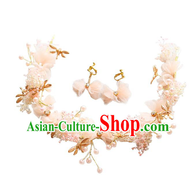 Chinese Traditional Bride Hair Jewelry Accessories Wedding Dragonfly Pink Flowers Hair Clasp and Earrings for Women