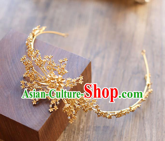 Chinese Traditional Bride Hair Jewelry Accessories Wedding Baroque Retro Golden Hair Clasp for Women