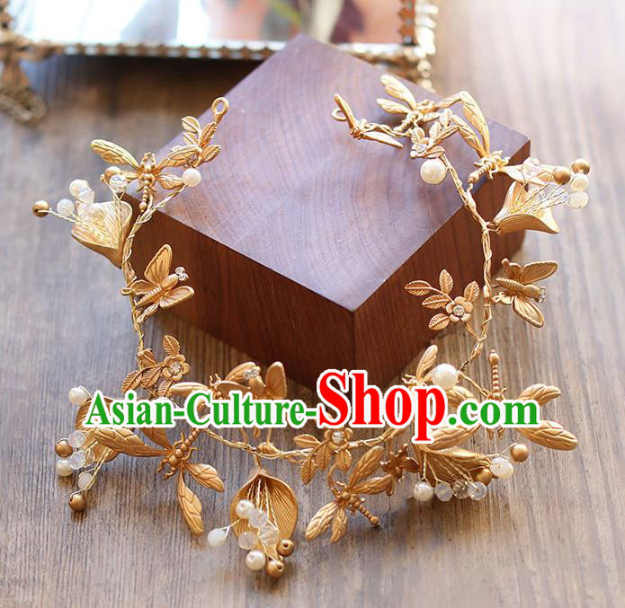 Chinese Traditional Bride Hair Jewelry Accessories Wedding Baroque Retro Golden Dragonfly Hair Clasp for Women
