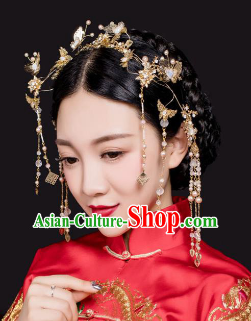Chinese Traditional Bride Hair Jewelry Accessories Xiuhe Suit Hairpins Headwear Wedding Tassel Hair Clasp for Women