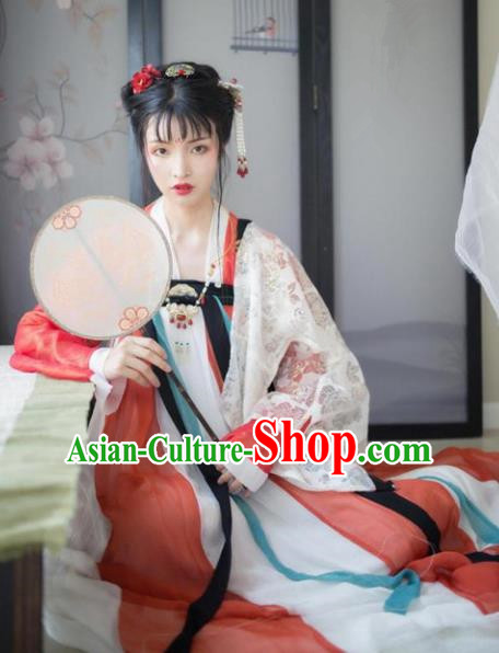 Traditional Chinese Tang Dynasty Imperial Concubine Dress Clothing Ancient Princess Hanfu Embroidered Costume for Women