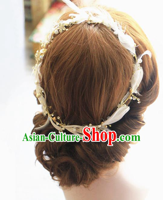 Chinese Traditional Bride Hair Jewelry Accessories Wedding Baroque Feather Hair Clasp for Women