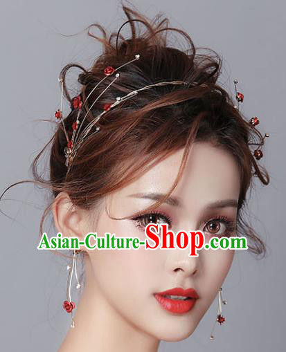 Chinese Traditional Bride Hair Jewelry Accessories Wedding Baroque Retro Rose Hair Clasp for Women