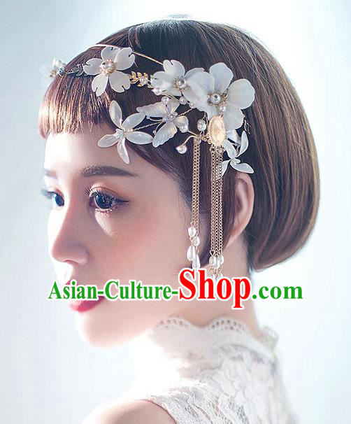 Chinese Traditional Bride Hair Jewelry Accessories Wedding Baroque Retro White Flowers Tassel Hair Clasp for Women