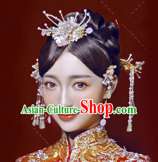Chinese Traditional Bride Hair Accessories Xiuhe Suit Flowers Phoenix Coronet Wedding Hairpins Complete Set for Women
