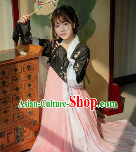 Traditional Chinese Ancient Imperial Princess Hanfu Clothing Tang Dynasty Palace Lady Embroidered Costume for Women