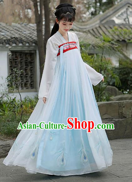 Traditional Chinese Ancient Tang Dynasty Palace Lady Princess Hanfu Embroidered Clothing for Women
