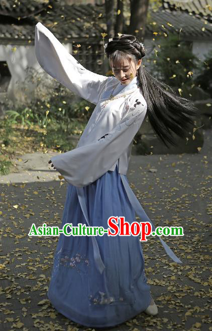 Traditional Chinese Ancient Ming Dynasty Young Lady Hanfu Clothing Embroidered Blouse and Skirt for Women