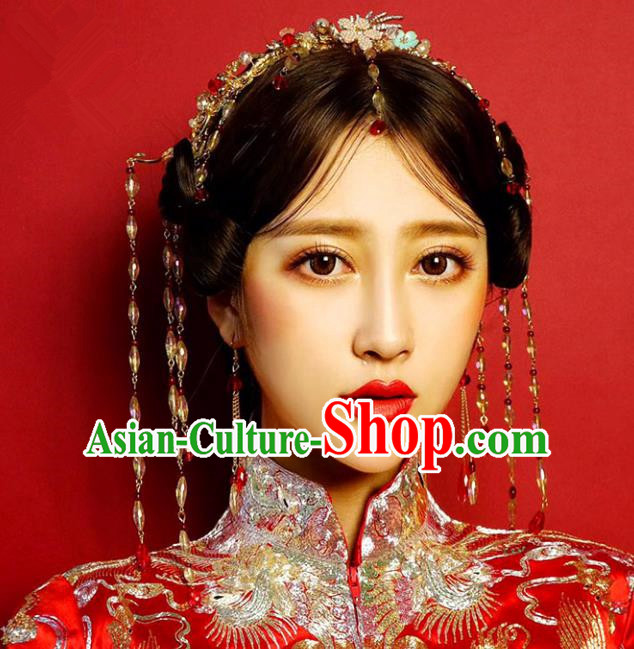 Chinese Traditional Bride Hair Accessories Xiuhe Suit Tassel Phoenix Coronet Wedding Hairpins for Women