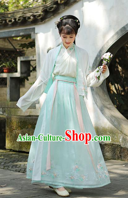 Traditional Chinese Song Dynasty Young Lady Hanfu Embroidered Costume Complete Set for Women