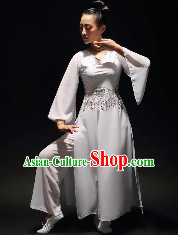 Traditional Chinese Classical Dance Costume, China Yangko Dance Fan Dance Hanfu White Clothing for Women