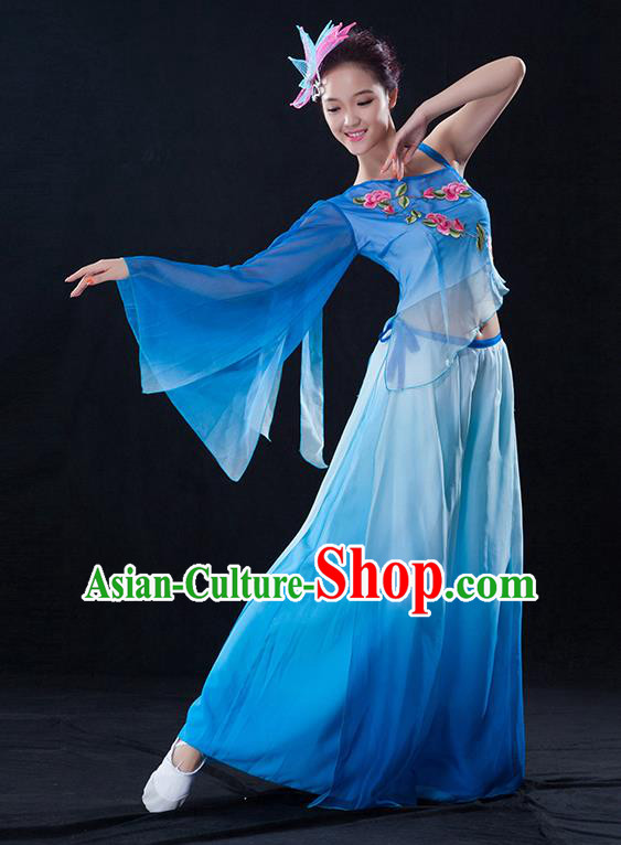 Traditional Chinese Classical Dance Fan Dance Embroidered Blue Costume, China Yangko Dance Clothing for Women