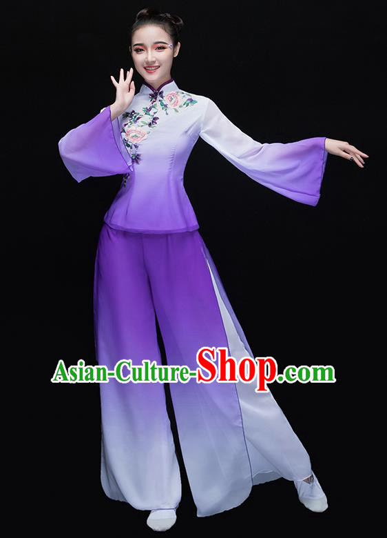 Traditional Chinese Classical Yangge Dance Purple Embroidered Uniforms, China Yangko Dance Clothing for Women