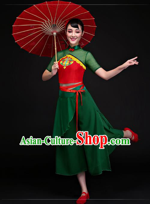 Traditional Chinese Classical Dance Fan Dance Green Costume, China Folk Dance Yangko Clothing for Women