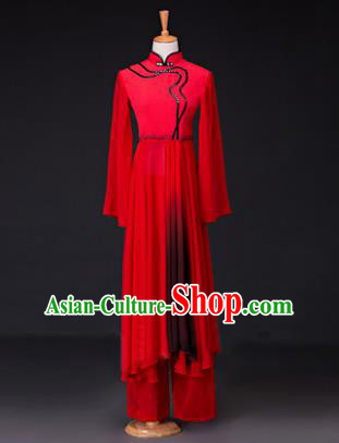 Traditional Chinese Classical Lotus Dance Costume, China Yangko Dance Red Clothing for Women