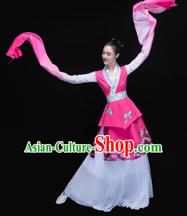 Traditional Chinese Classical Dance Fan Dance Water Sleeve Costume, China Folk Dance Yangko Clothing for Women