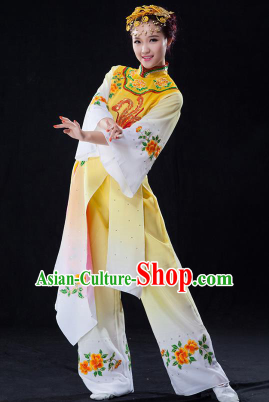 Traditional Chinese Classical Dance Umbrella Dance Water Sleeve Costume, China Folk Dance Yangko Yellow Clothing for Women