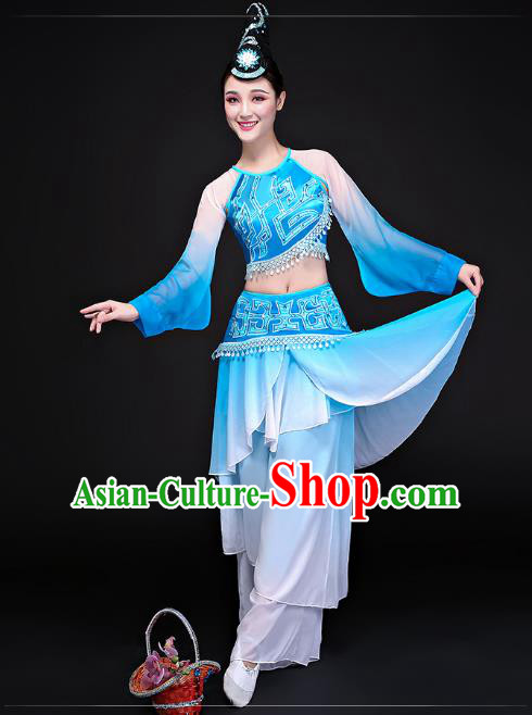 Traditional Chinese Classical Dance Umbrella Dance Blue Uniforms, China Folk Dance Yangko Clothing for Women