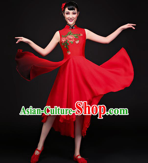 Traditional Chinese Classical Fan Dance Embroidered Red Cheongsam Dress, China Yangko Folk Dance Clothing for Women