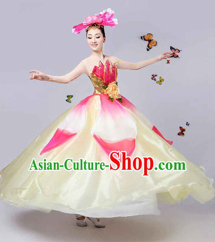 Traditional Chinese Modern Dance Opening Dance Dress China Folk Dance Lotus Dance Clothing for Women