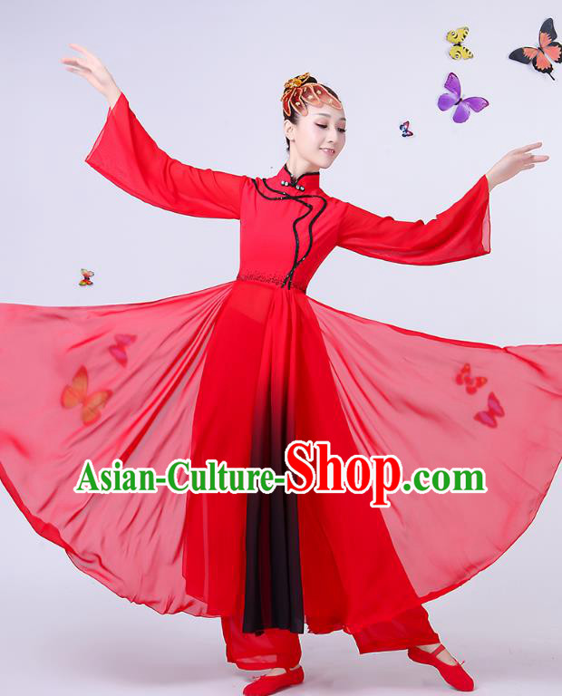 Traditional Chinese Classical Umbrella Dance Red Dress, China Yangko Folk Fan Dance Clothing for Women