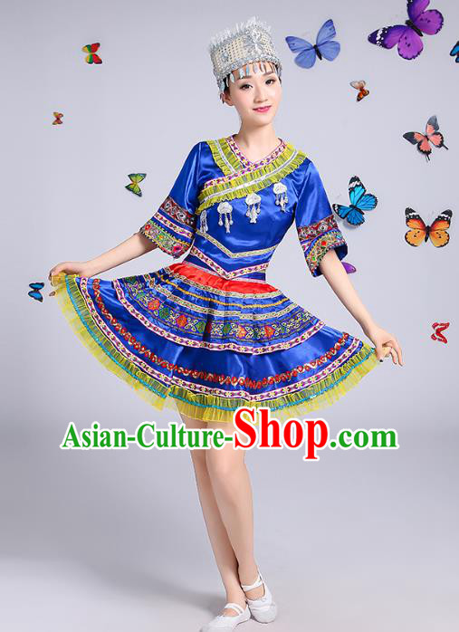 Traditional Chinese Miao Nationality Dance Costume, Hmong Female Folk Dance Ethnic Pleated Skirt Embroidery Clothing for Women