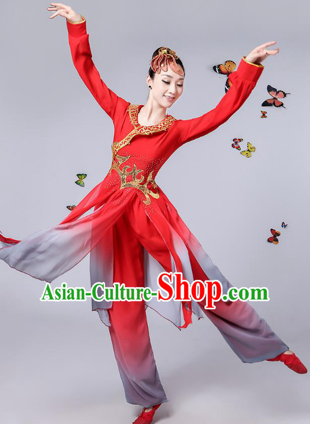 Traditional Chinese Classical Umbrella Dance Red Costume, China Yangko Folk Fan Dance Clothing for Women