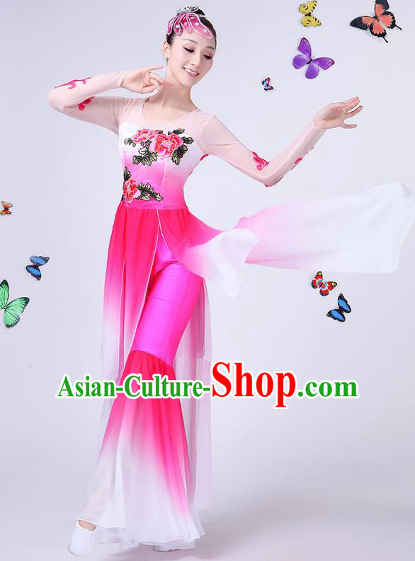 Traditional Chinese Classical Umbrella Dance Embroidered Peony Pink Costume, China Yangko Folk Fan Dance Clothing for Women