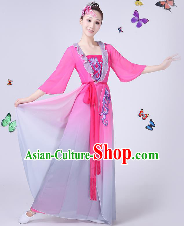 Traditional Chinese Classical Fan Dance Embroidered Peony Pink Costume, China Yangko Folk Umbrella Dance Clothing for Women