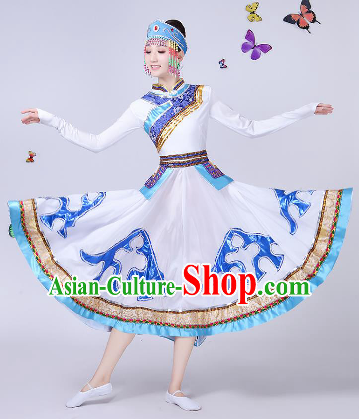 Traditional Chinese Mongol Nationality Dance Costume, Chinese Mongolian Minority Folk Dance Embroidery White Dress for Women