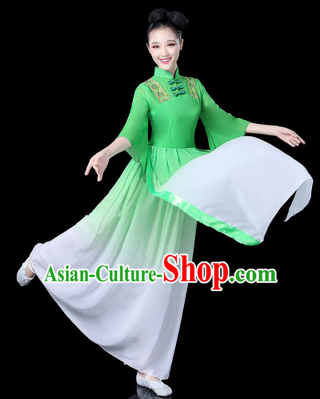 Traditional Chinese Classical Dance Costume Green Dress, China Yangko Folk Umbrella Dance Clothing for Women