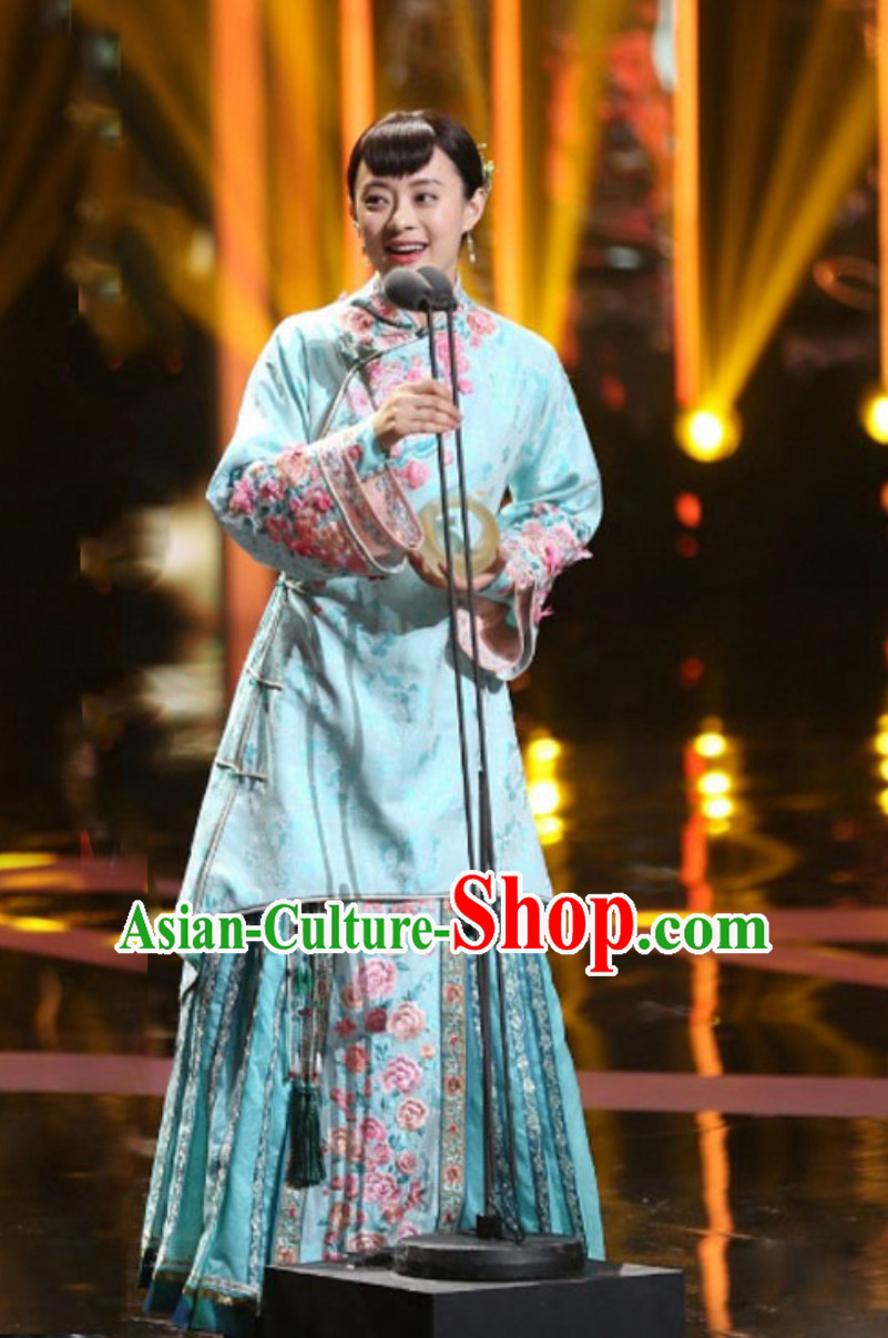 Chinese Minguo Time Rich Lady Embroidered Garment Clothes Attire