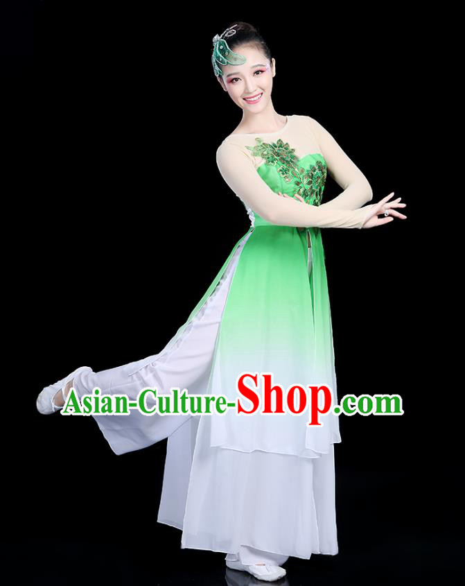 Traditional Chinese Classical Dance Green Uniform Fan Dance Costume, China Yangko Folk Umbrella Dance Clothing for Women